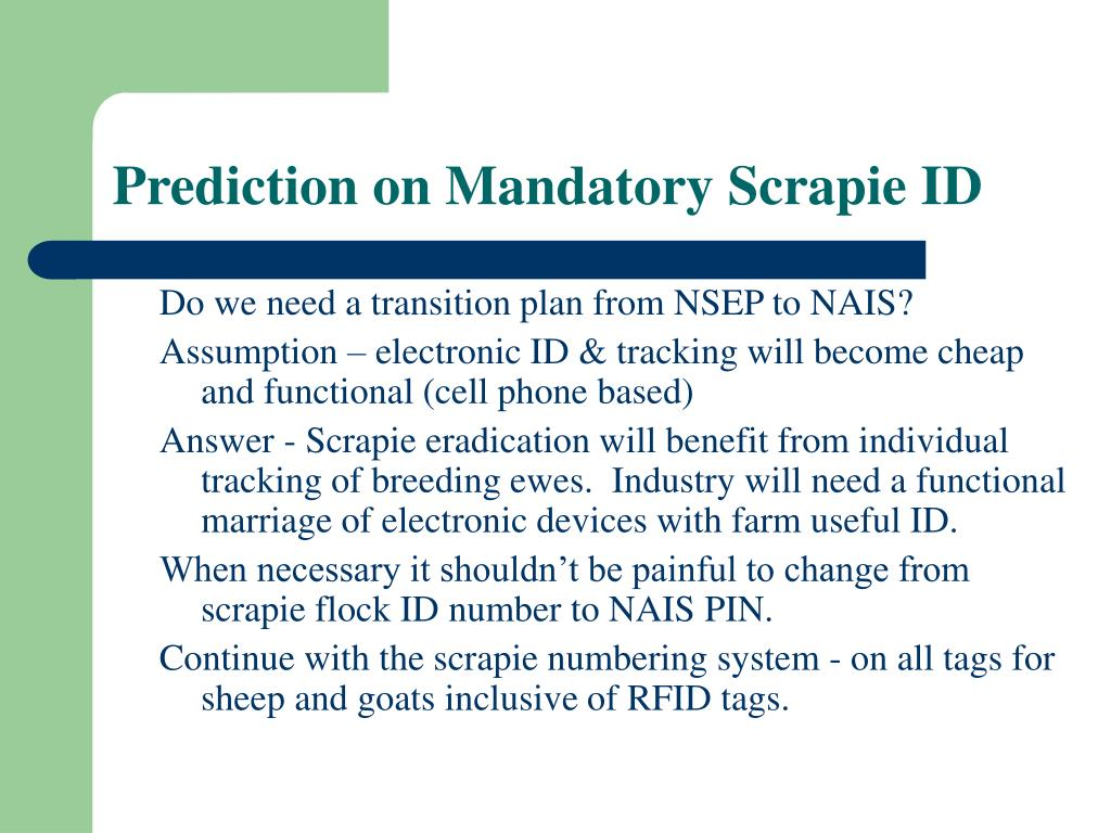 Prediction on Mandatory Scrapie ID