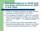 recommendations to nais staff and state veterinarians by swg in fall 2005