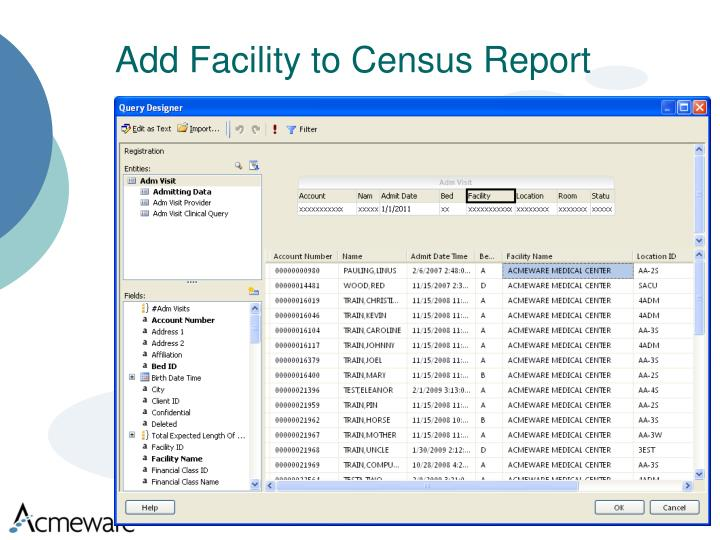 Add Facility to Census Report