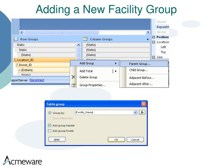 Adding a New Facility Group