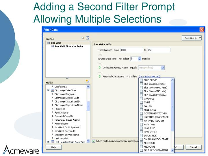 Adding a Second Filter Prompt Allowing Multiple Selections