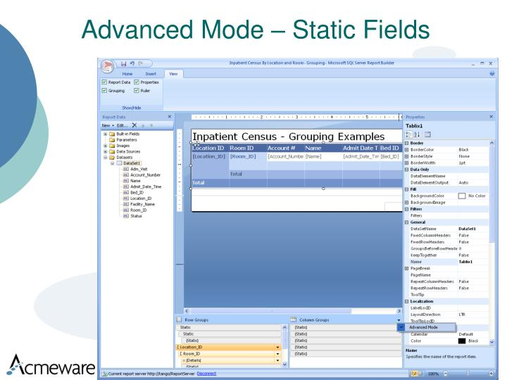 Advanced Mode – Static Fields