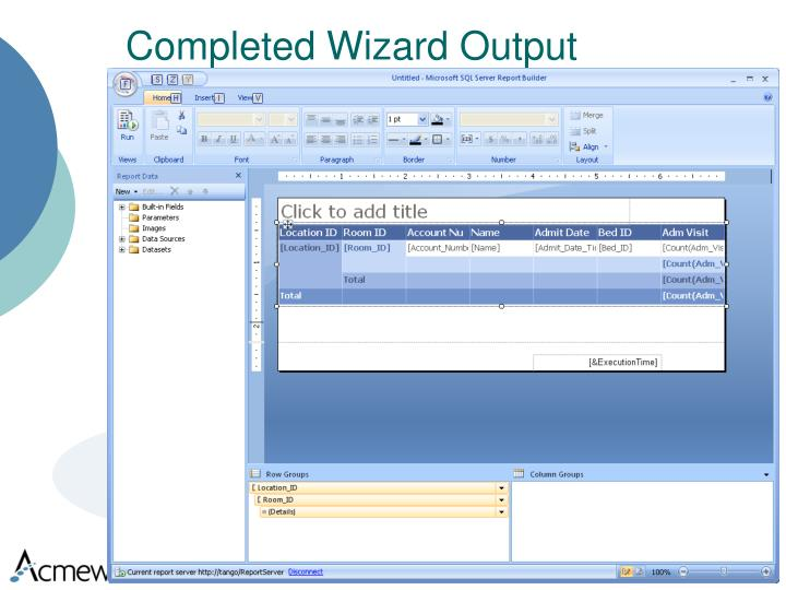 Completed Wizard Output