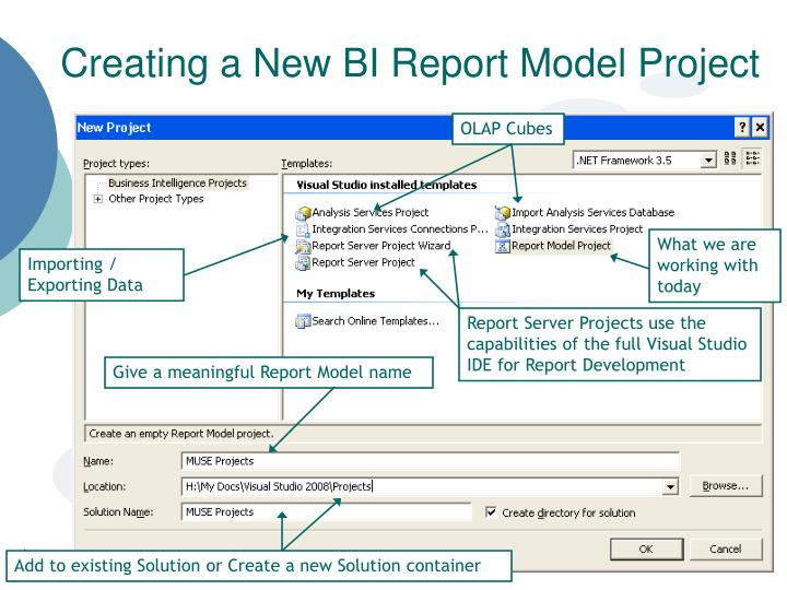 Creating a New BI Report Model Project