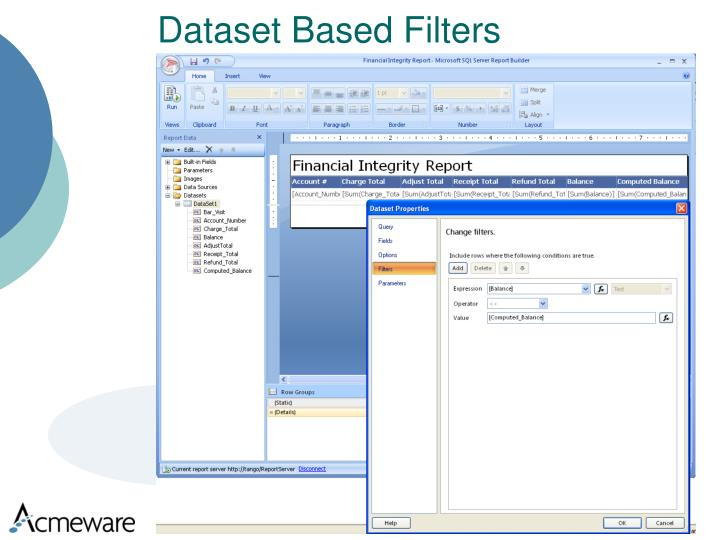 Dataset Based Filters