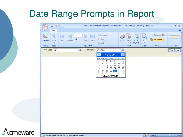 Date Range Prompts in Report