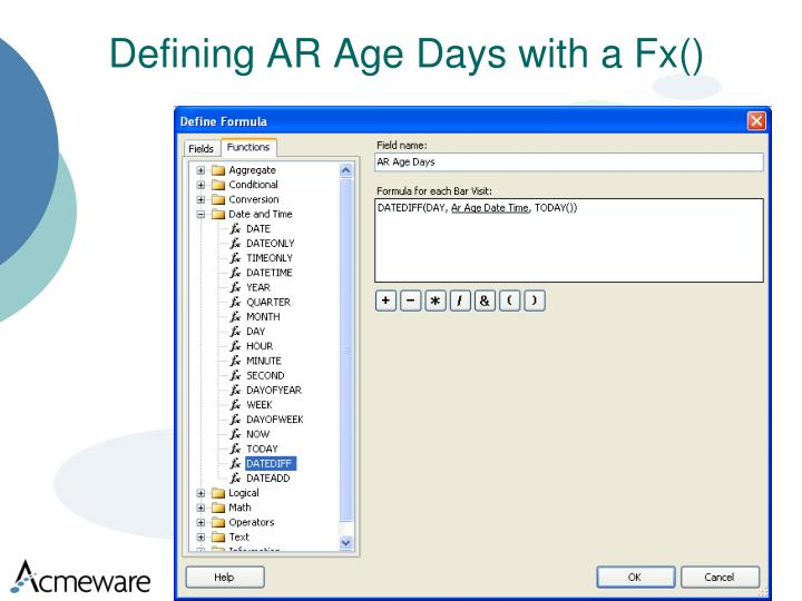 Defining AR Age Days with a Fx()