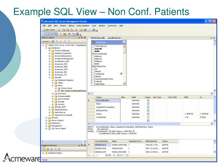 Example SQL View – Non Conf. Patients