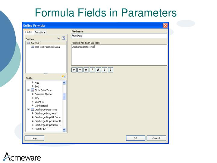 Formula Fields in Parameters