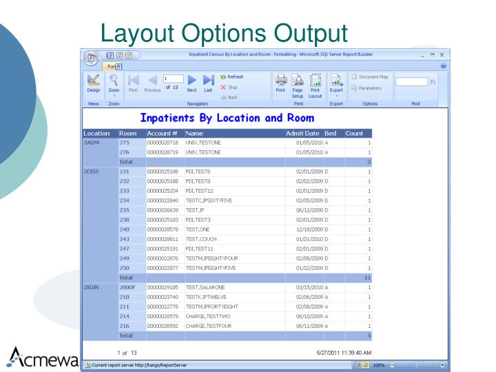 Layout Options Output
