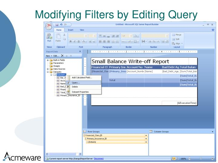 Modifying Filters by Editing Query
