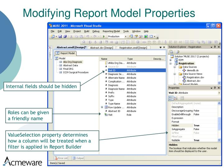 Modifying Report Model Properties