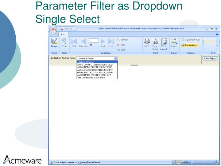 Parameter Filter as Dropdown Single Select