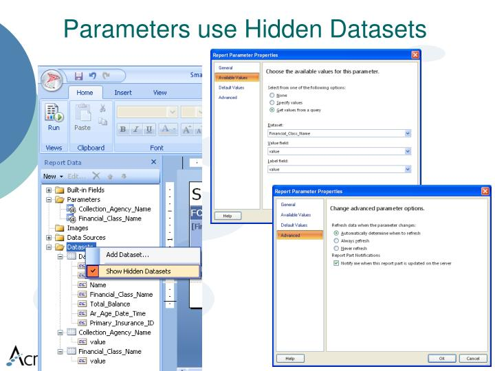 Parameters use Hidden Datasets