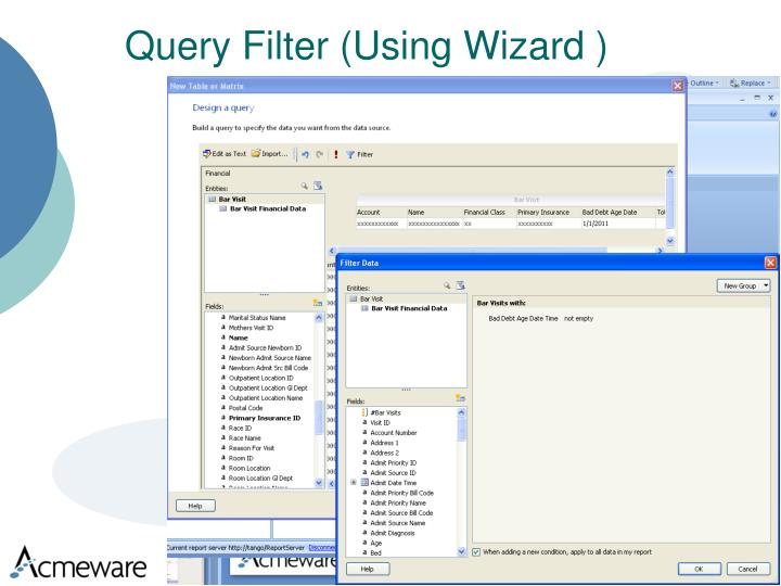 Query Filter (Using Wizard )