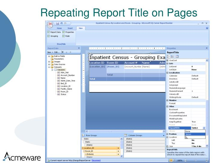 Repeating Report Title on Pages