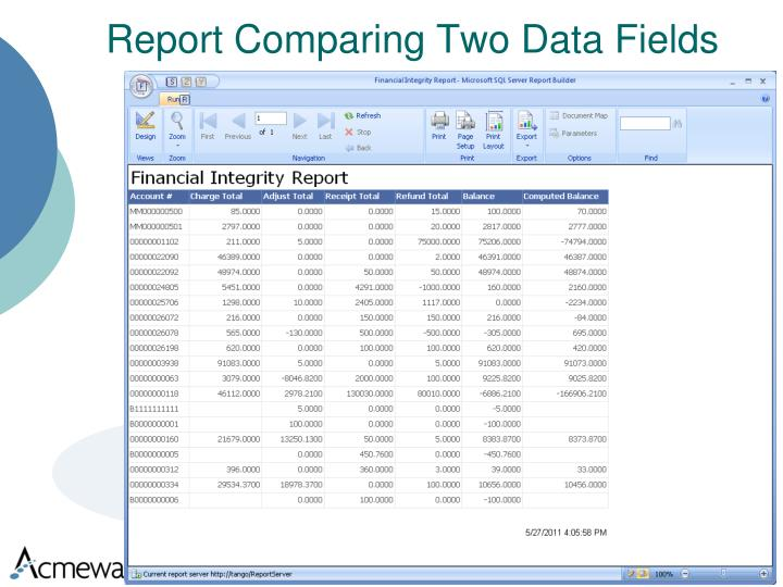 Report Comparing Two Data Fields