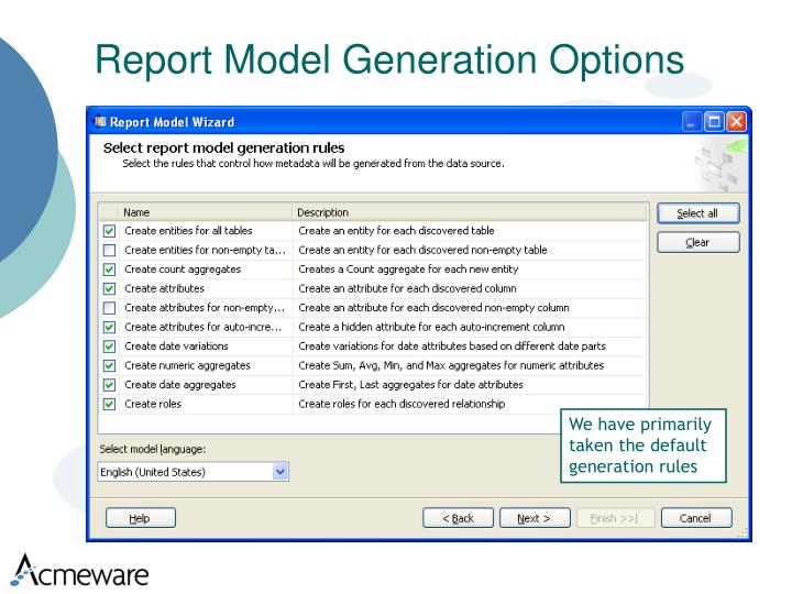 Report Model Generation Options