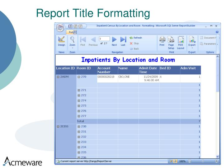 Report Title Formatting