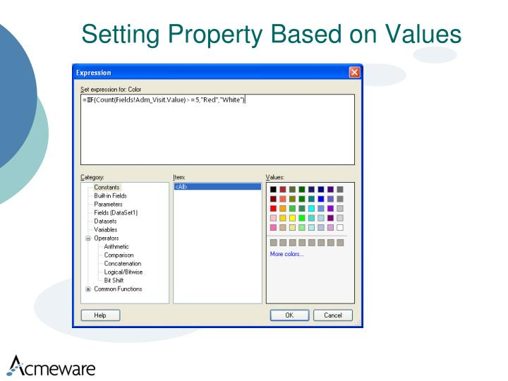 Setting Property Based on Values