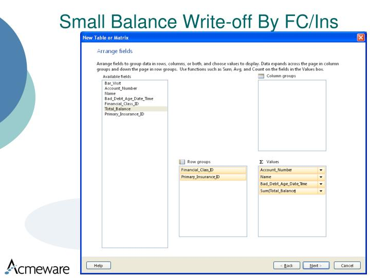 Small Balance Write-off By FC/Ins