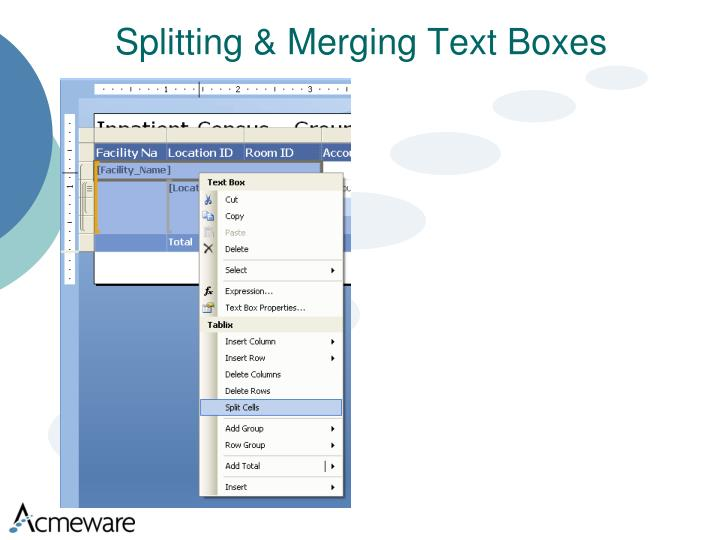 Splitting & Merging Text Boxes