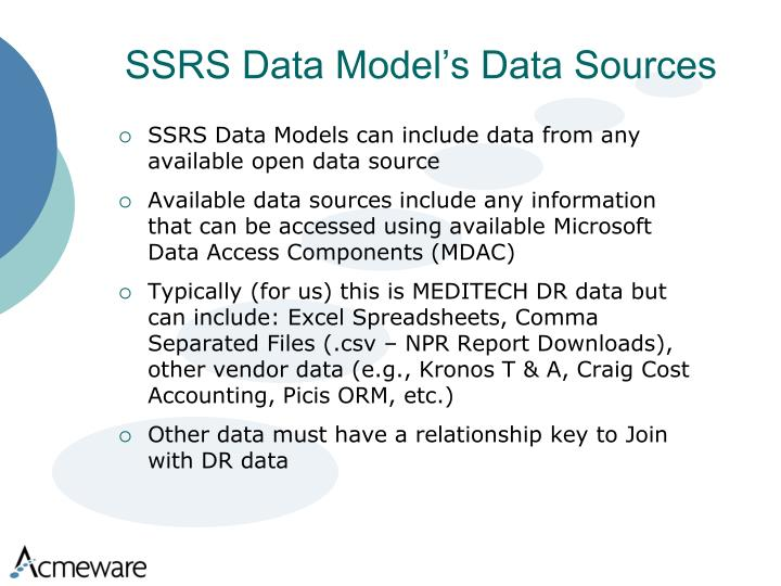 SSRS Data Model's Data Sources