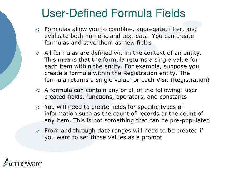 User-Defined Formula Fields