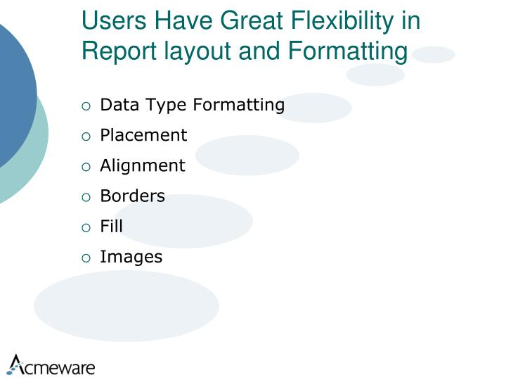 Users Have Great Flexibility in Report layout and Formatting