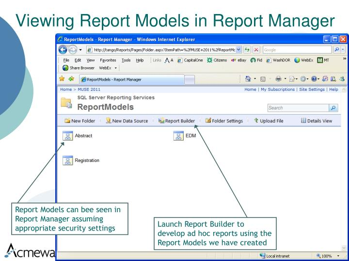 Viewing Report Models in Report Manager