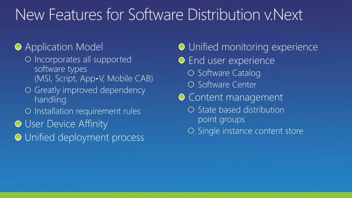 New Features for Software Distribution