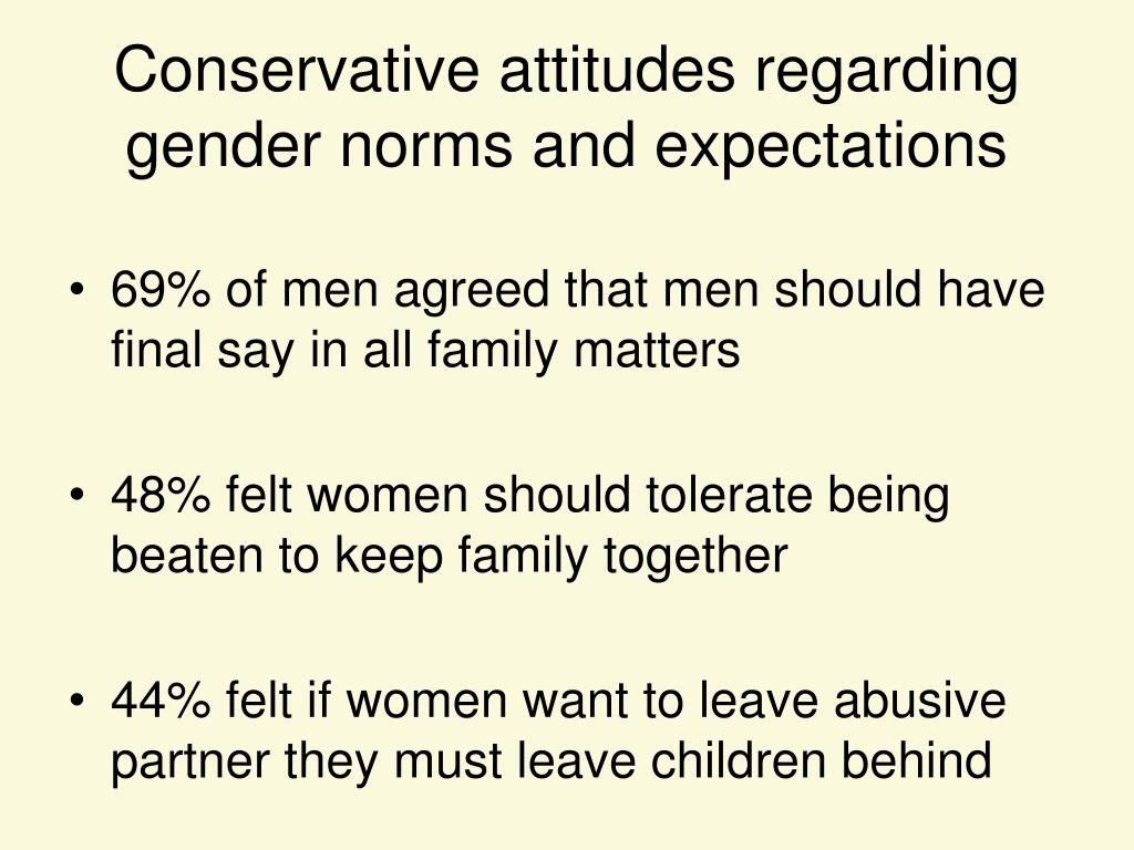 Conservative attitudes regarding gender norms and expectations