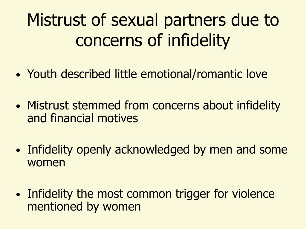 Mistrust of sexual partners due to concerns of infidelity