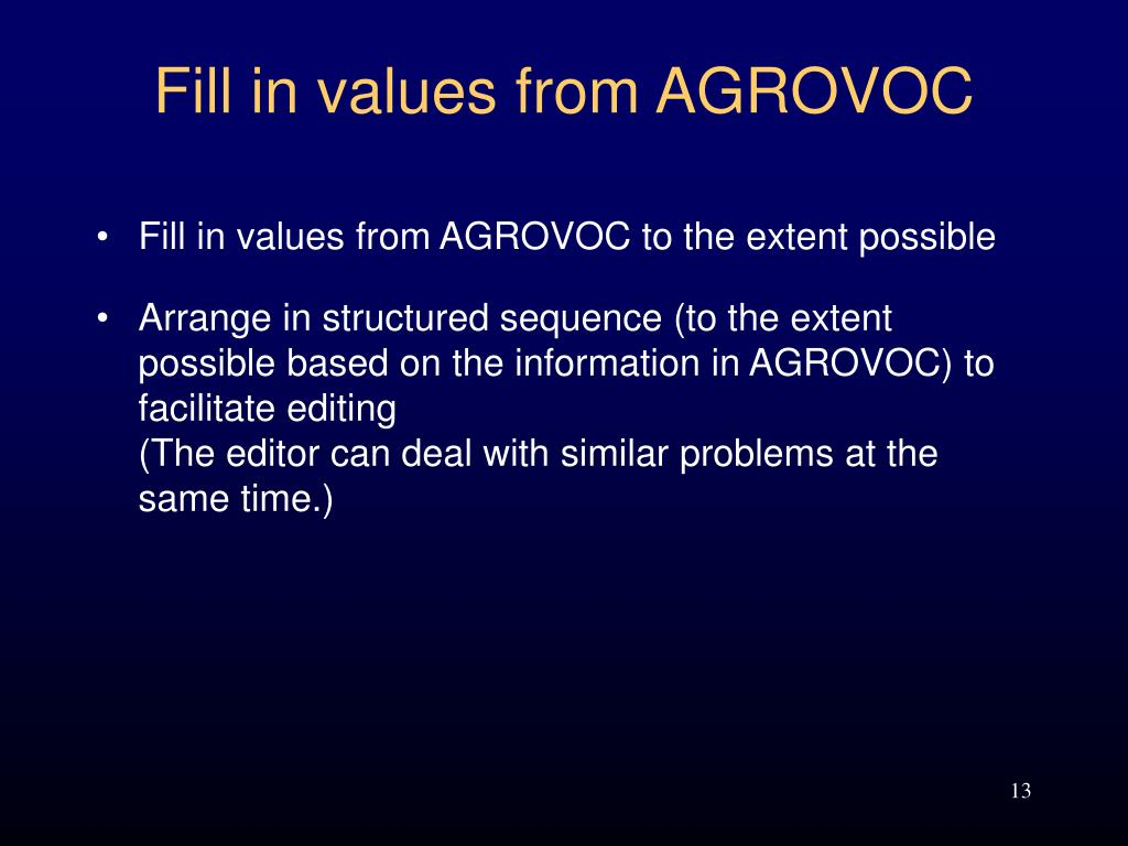 Fill in values from AGROVOC