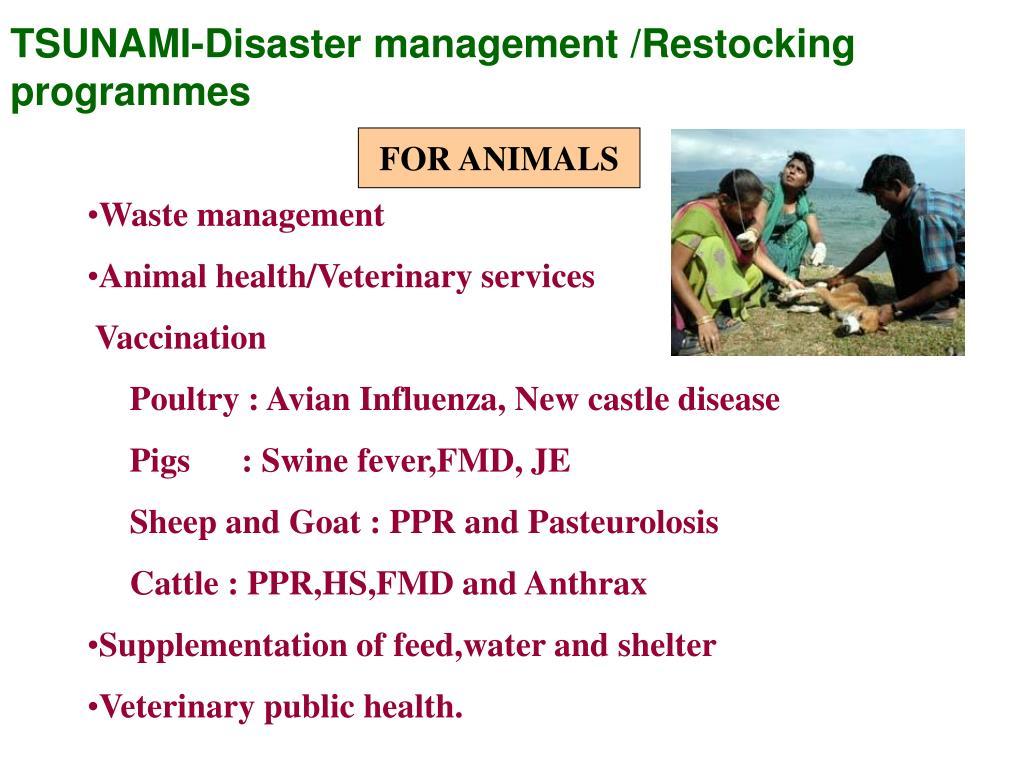 TSUNAMI-Disaster management /Restocking programmes