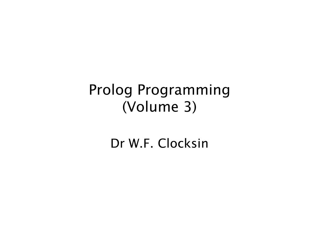 prolog programming volume 3