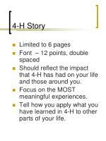 4 h story