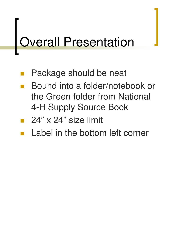 Overall Presentation