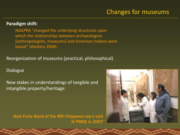 Changes for museums