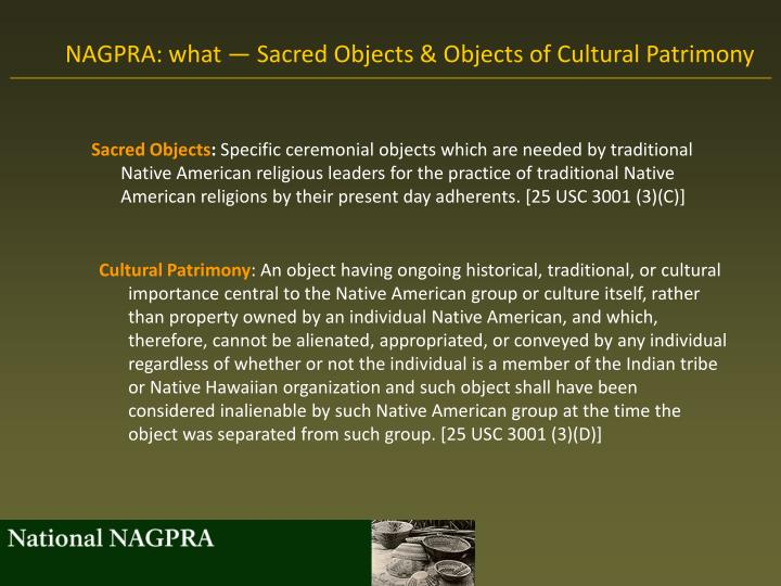 NAGPRA: what — Sacred Objects & Objects of Cultural Patrimony