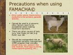 precautions when using famacha