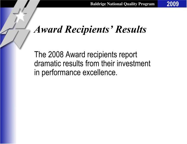 Award Recipients' Results