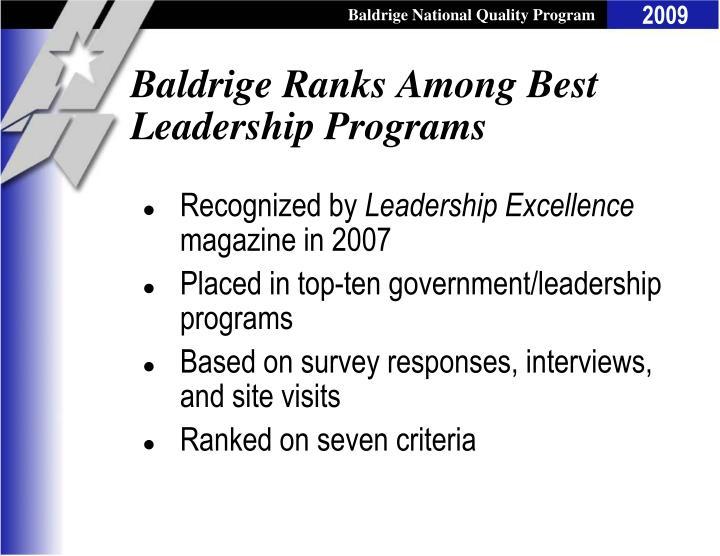 Baldrige ranks among best leadership programs