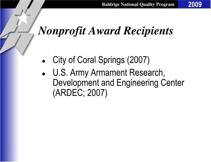 Nonprofit Award Recipients