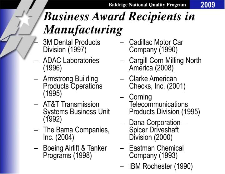 Business Award Recipients in Manufacturing