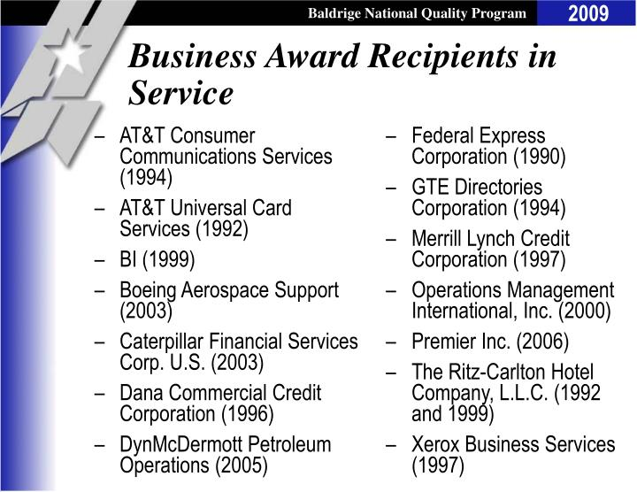 Business Award Recipients in Service