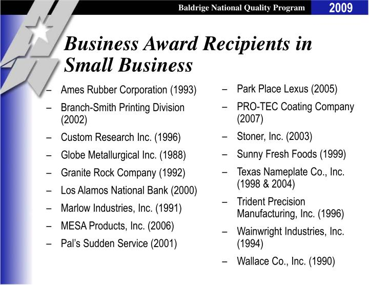 Business Award Recipients in Small Business
