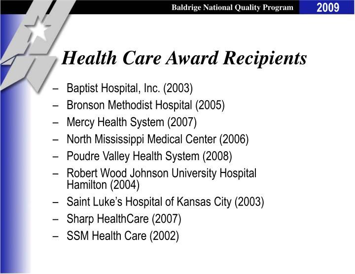 Health Care Award Recipients
