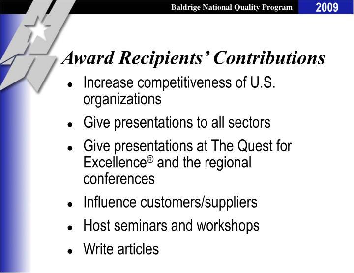 Award Recipients' Contributions