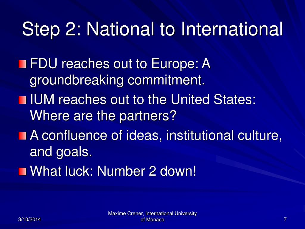 Step 2: National to International
